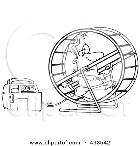 ... Art Of A Man Running In A Wheel To Power A Generator by Ron Leishman