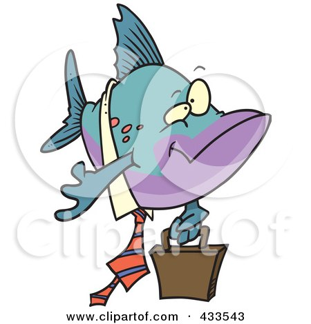 Royalty-Free (RF) Clipart Illustration Of A Business Fish Carrying A Briefcase by toonaday