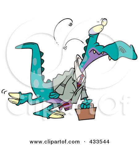 Royalty-Free (RF) Clipart Illustration Of A Business Dinosaur Carrying A Briefcase by toonaday