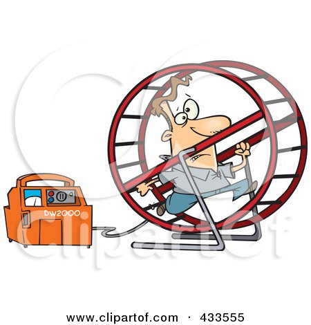 Royalty-Free (RF) Clipart Illustration Of A Man Running In A Wheel To Power A Generator by toonaday