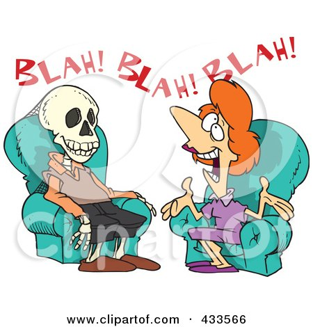 Royalty-Free (RF) Clipart Illustration Of A Chatty Woman Talking A Man To Death by toonaday