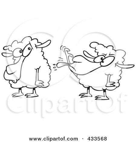 Royalty-Free (RF) Clipart Illustration Of Coloring Page Line Art Of A Sheep Sticking Its Tongue Out At Another Sheep by toonaday