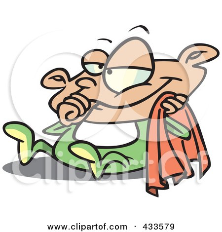 Royalty-Free (RF) Clipart Illustration Of A Cartoon Baby Holding A Blanket And Sucking His Thumb by toonaday