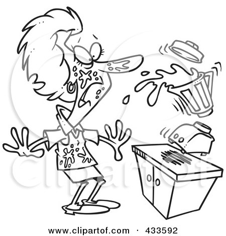 Royalty Free RF Clipart Illustration Of Coloring Page Line Art A Woman Getting Splashed From Juice With Her Blender By Toonaday