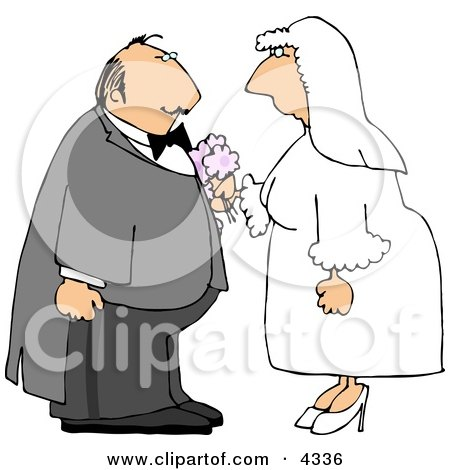 Caucasian Bride and Groom Getting Married Clipart by djart