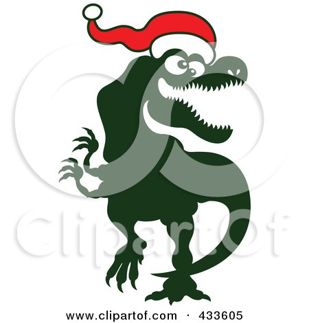 Royalty-Free (RF) Clipart Illustration of a Christmas Tyrannosaurus Rex Wearing A Santa Hat by Zooco