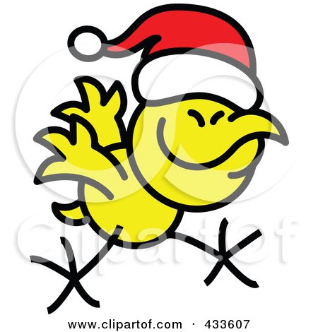 Royalty-Free (RF) Clipart Illustration of a Christmas Chicken Running And Wearing A Santa Hat by Zooco
