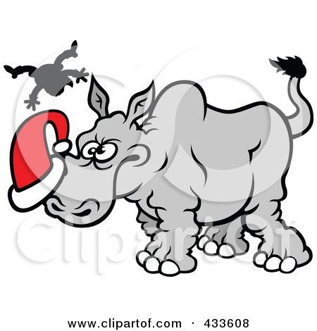 Royalty-Free (RF) Clipart Illustration of a Christmas Rhino Goring Santa by Zooco