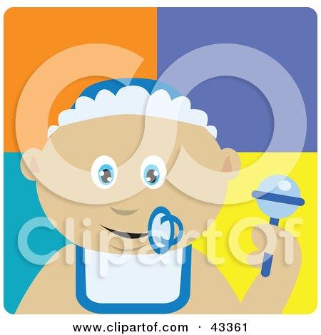 Clipart Illustration of a Mexican Baby Boy With A Pacifier, Bib And Rattle by Dennis Holmes Designs