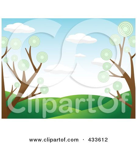 Royalty-Free (RF) Clipart Illustration of a Landscape Background Of Green Hills Framed By Trees With Circle Foliage by mheld