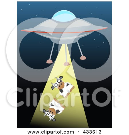 Royalty-Free (RF) Clipart Illustration of a Cows Being Beamed Up By A Flying Saucer by mheld