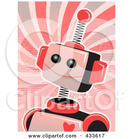 Royalty-Free (RF) Clipart Illustration of a Pink Springy Robot With A Heart On Its Chest, Over Grungy Swirls by mheld
