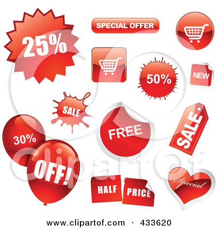Royalty-Free (RF) Clipart Illustration of a Digital Collage Of Red Sale Icons, Balloons And Buttons by TA Images