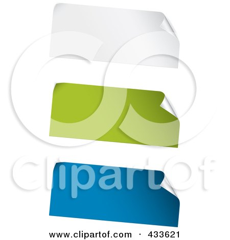 Royalty-Free (RF) Clipart Illustration of a Digital Collage Of White, Green And Blue Blank Peeling Sticker Labels by TA Images