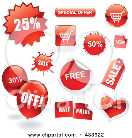Royalty-Free (RF) Clipart Illustration of a Digital Collage Of Sale Icons, Balloons And Buttons With Shadows by TA Images
