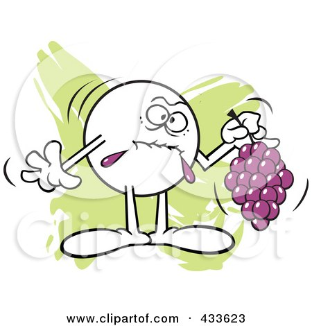 Royalty-Free (RF) Clipart Illustration of a Moodie Character Holding Sour Grapes - 2 by Johnny Sajem