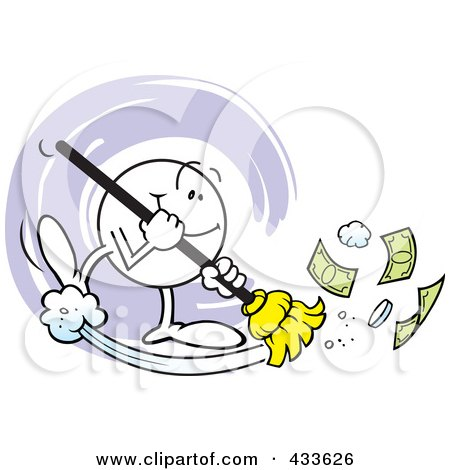 Royalty-Free (RF) Clipart Illustration of a Moodie Character Sweeping Money by Johnny Sajem