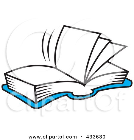 Royalty-Free (RF) Clipart Illustration of a Blue Open Book With Blank Pages by Johnny Sajem