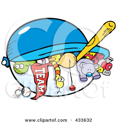 Royalty-Free (RF) Clipart Illustration of a Team Flag And Toys In A Chest by Johnny Sajem