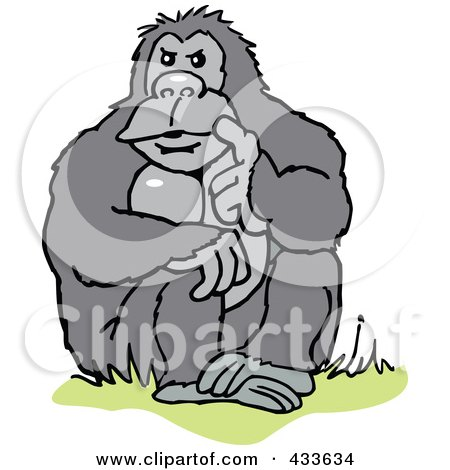 Royalty-Free (RF) Clipart Illustration of a Gorilla Sitting And Thinking by Johnny Sajem