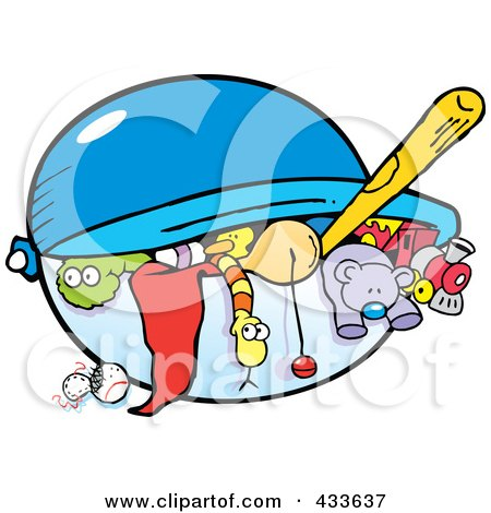 Royalty-Free (RF) Clipart Illustration of a Toy Chest Full Of Toys by Johnny Sajem