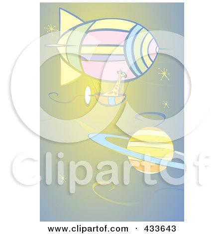 Royalty-Free (RF) Clipart Illustration of a Giraffe Riding In The Basket Of An Air Balloon Near Saturn by xunantunich