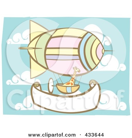 Royalty-Free (RF) Clipart Illustration of a Giraffe Riding In An Air Balloon Basket Over A Blank Banner by xunantunich