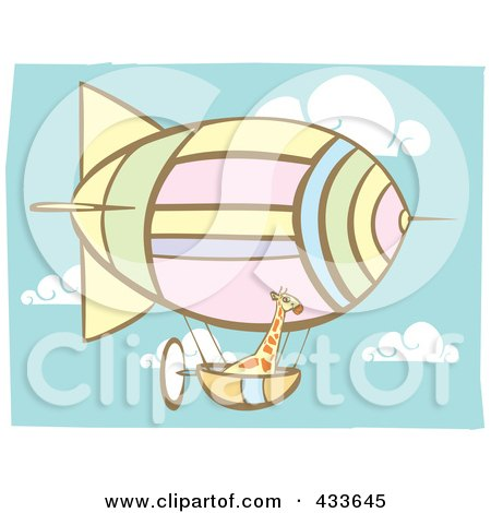 Royalty-Free (RF) Clipart Illustration of a Giraffe Riding In The Basket Of An Air Balloon by xunantunich