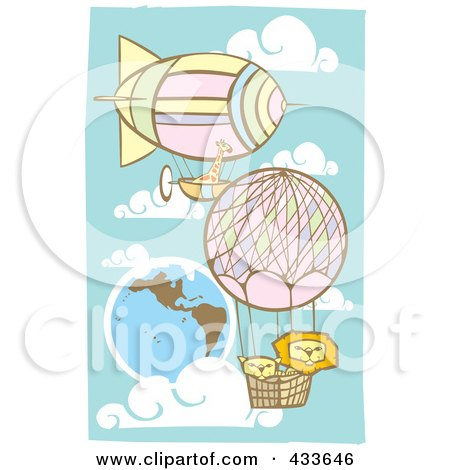 Royalty-Free (RF) Clipart Illustration of Two Lions And A Giraffe Riding In The Baskets Of Air Balloons by xunantunich