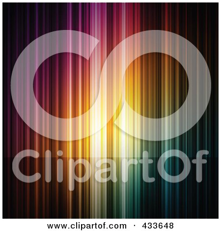 Royalty-Free (RF) Clipart Illustration of a Background Of Colorful Vertical Lights And A Darkened Space For Text by Anja Kaiser