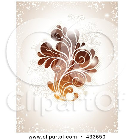 Royalty-Free (RF) Clipart Illustration of a Brown Swirl With Lights Over Grungy Beige by Anja Kaiser