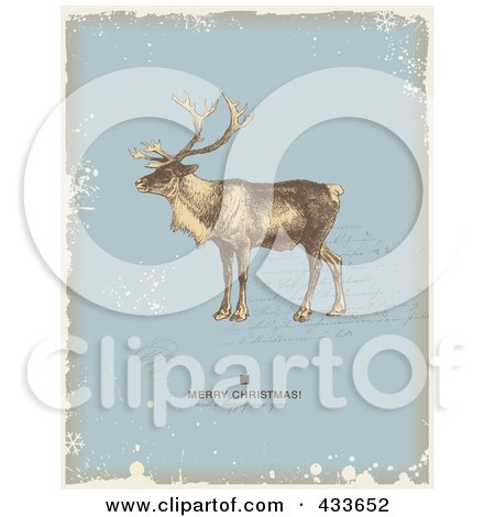 Royalty-Free (RF) Clipart Illustration of a Reindeer Over Writing With A Holiday Greeting On Blue, Beige And White Grunge by Anja Kaiser