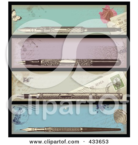 Royalty-Free (RF) Clipart Illustration of a Digital Collage Of Antique Ink Pen Banners by Anja Kaiser