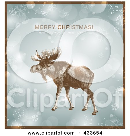 Royalty-Free (RF) Clipart Illustration of a Moose Over Snowflakes And Sparkles With Merry Christmas And A Happy New Year Text And A Brown Border by Anja Kaiser