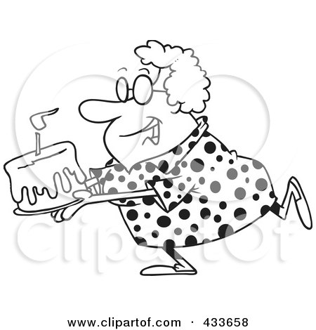 Coloring Page Line Art Of A Happy Grandma Carrying A Birthday Cake Poster,