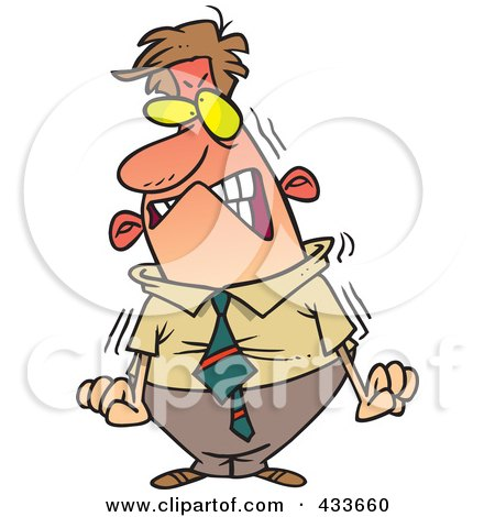 Royalty-Free (RF) Clipart Illustration of a Furious Cartoon Businessman About To Blow by toonaday
