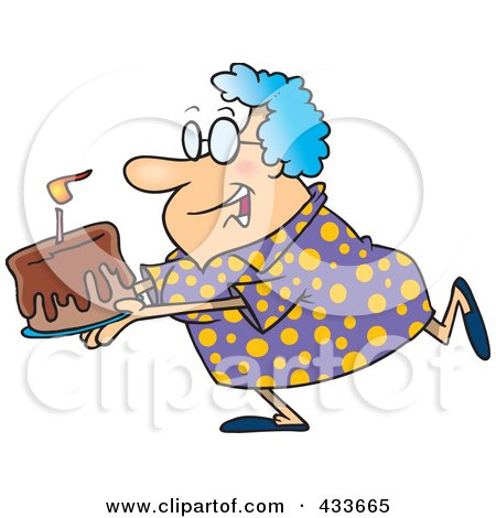 Royalty-free clipart illustration of a happy grandma carrying a birthday