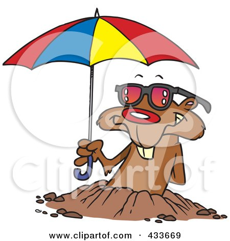 Royalty-Free (RF) Clipart Illustration Of A Groundhog Emerging With Shades And An Umbrella by toonaday
