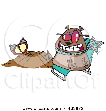 Royalty-Free (RF) Clipart Illustration Of A Groundhog Wearing Shades And Sitting By His Hole by toonaday