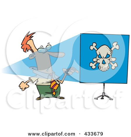 Royalty-Free (RF) Clipart Illustration Of A Man Turning A Projector On And Seeing A Skull On A Blue Screen by toonaday
