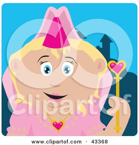 Clipart Illustration of a Pretty Caucasian Princess Girl Holding A Wand by Dennis Holmes Designs