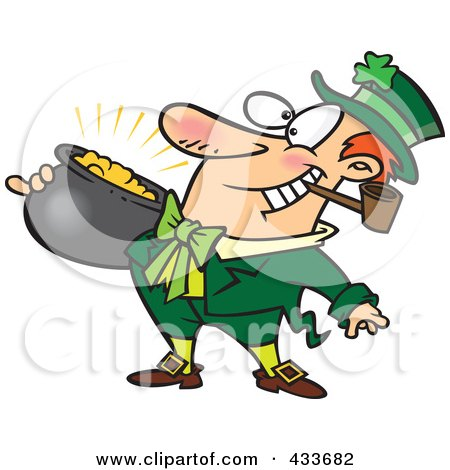 Royalty-Free (RF) Clipart Illustration Of A Leprechaun With A Pipe And Pot Of Gold by Ron Leishman
