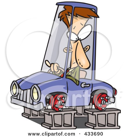 Royalty-Free (RF) Clipart Illustration Of A Man In A Tireless Car On Blocks by toonaday