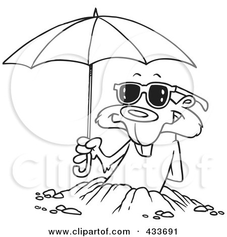 coloring page line art of a groundhog emerging with shades and an umbrella