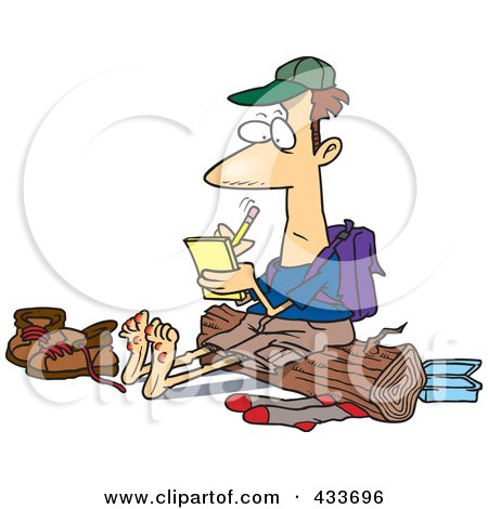 Royalty-Free (RF) Clipart Illustration Of A Barefoot Hiker With Blisters On His Feet, Writing In His Journal by toonaday