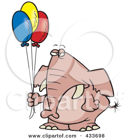 Royalty-Free (RF) Clipart Illustration Of A Grumpy Elephant Holding Balloons by toonaday