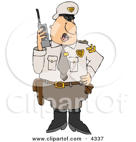 Male Cop In Uniform Talking On A Portable CB Radio Clipart