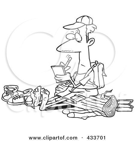 Royalty-Free (RF) Clipart Illustration Of Coloring Page Line Art Of A Barefoot Hiker With Blisters On His Feet, Writing In His Journal by toonaday