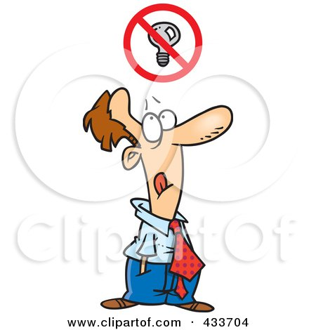 Royalty-Free (RF) Clipart Illustration of a Stressed Cartoon Businessman Trying To Come Up With An Idea by toonaday