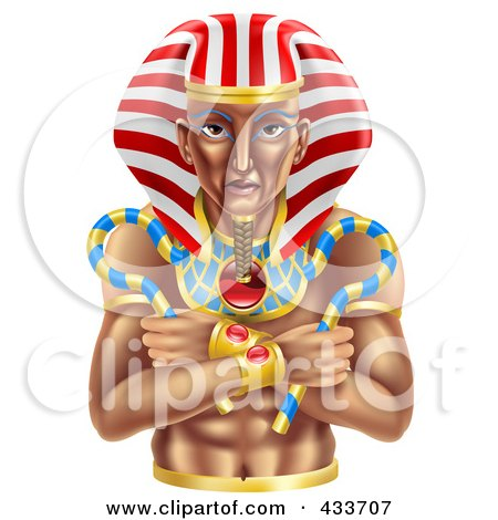 Royalty-Free (RF) Clipart Illustration of an Ancient Egyptian Pharaoh by AtStockIllustration